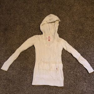 Sweaters - Warm, knitted sweater with hoodie